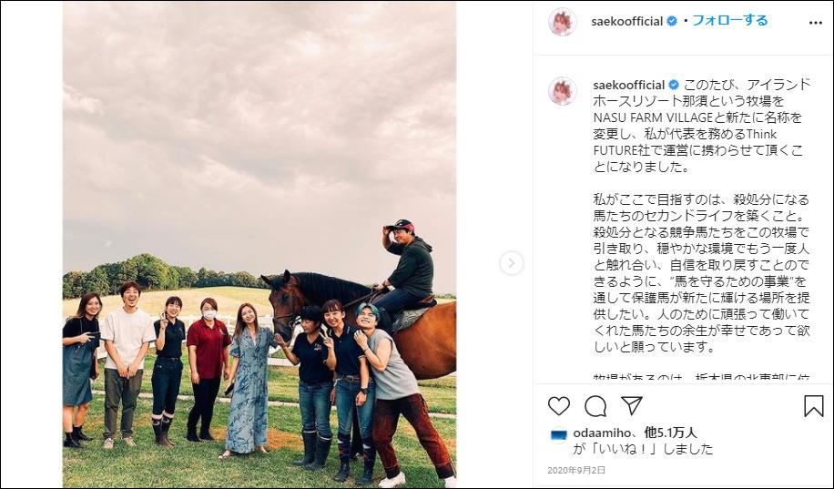 紗栄子 牧場 経営